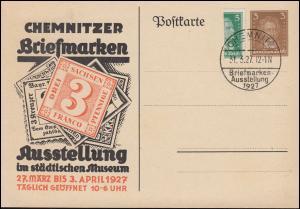 PP 97 Briefmarkenausstellung Chemnitz 1927 mit halber Schiller-Marke SSt 31.3.27