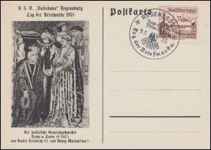 657 WHW Schiffe Schmuck-Karte Tag der Briefmarke passender SSt REGENSBURG 9.1.38
