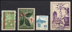 Niederlande 4 Vignetten-, Spenden- und Stadtpost-Marken aus 1950/2005