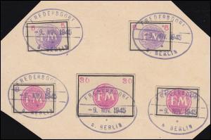 Fredersdorf Sp 236-240 auf Vorlage je mit Gefälligkeitsstempel 9.11.1945