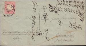4 Brustschild auf Brief Einkreis NEISSE 10.6.72 nach HENNERSDORF / OPPELN 11.6.