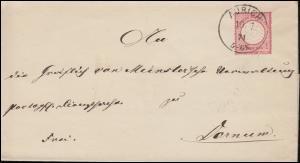 19 Brustschild 1 Gr. EF Brief Einkreis AURICH 10.7.1874 nach DORNUM 11.7.