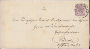 40 Ziffer 5 Pfennig auf Brief DONAUESCHINGEN 20.9.1887 nach ZÜRICH 21.9.87