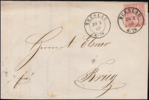 Norddeutscher Bund 16 Ziffer 1 Groschen Faltbrief BRESLAU 20.3.1869 nach Brieg