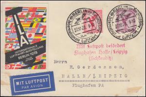 Mit Luftpost befördert Flughafen Halle / Leipzig (Schkeuditz) SSt BELIN 27.10.28
