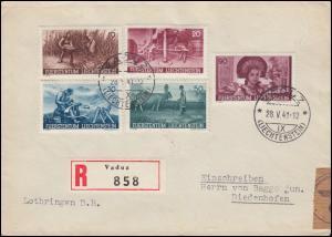 Zensur 192-196 Landwirtschaft 1941, Satz-R-Brief VADUZ 28.5.41 nach Deutschland