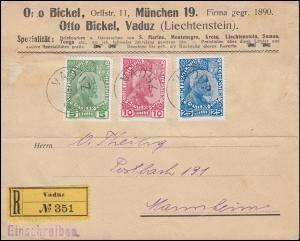 1-3x Fürst Johann II. - Satz auf R-Brief VADUZ 6.2.1912 nach MANNHEIM 7.2.12