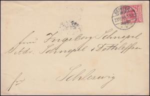 47 Reichsadler 10 Pf Ef auf Brief REINBEK 23.12.1898 nach SCHLESWIG 24.12.98