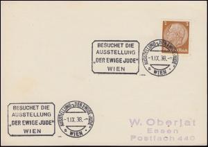 513 Hindenburg als EF auf Drucksache SSt WIEN Ausstellung Der ewige Jude 1.9.38