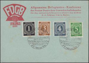 FDGB-Delegiertenkonferenz in der SBZ Sonderkarte passender SSt BERLIN 11.2.1946