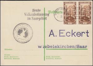179 Freimarke Drucksache SAARBRÜCKEN Heute Volksabstimmung im Saargebiet 13.1.35