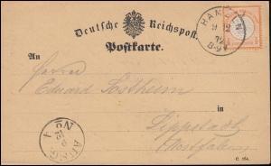 18 Brustschild 1/2 Groschen auf Postkarte HAMELN 9.12.1872 nach Lippstadt