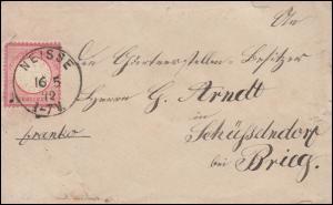 4 Brustschild 1 Gr. EF Brief Einkreis NEISSE 16.5.72 nach Brieg/Oberschlesien