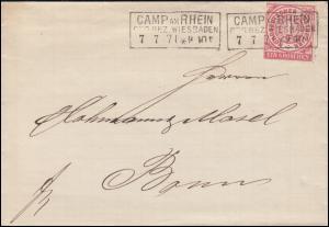 Norddeutscher Bund 16 Ziffer 1 Gr. Briefhülle CAMP AM RHEIN 7.7.1871 nach Bonn