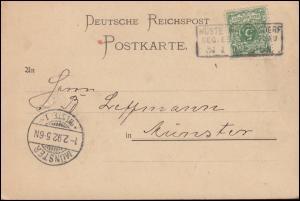 46 Ziffer 5 Pf. Postkarte Kastenstempel WÜSTE WALTERSDORF / BRESLAU 31.1.1892
