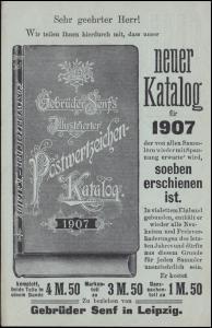 Privatpostkarte PZD 2X Gebrüder Senf: Neuer Katalog für 1907, LEIPZIG 5.11.1906