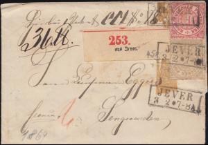 Norddeutscher Bund 4+6 Ziffer Paketbegleitbrief JEVER 3.2.1869 nach Sengwarden