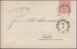 Norddeutscher Bund 9 Ziffer 3 Kreuzer Faltbrief MAINZ-BAHNHOF 9.2.1869 nach Köln