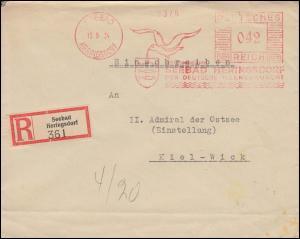 AFS Seebad Heringsdorf - Der deutsche Meereskurort 15.9.1934, R-Brief nach Kiel