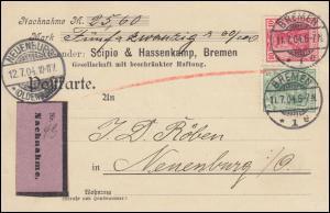 70+71 Germania MiF Nachnahme-Postkarte BREMEN 11.7.1904 nach NEUENBURG 12.7.1904