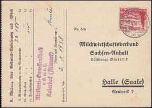 656 WHW Schiffe 12 Pf. EF auf Postkarte Molkerei-Genossenschaft KATERBECK 3.1.38