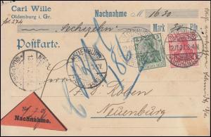 84I+86I Germania-Marken als MiF auf Nachnahme-Postkarte OLDENBURG 12.11.1907
