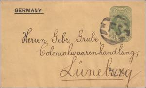 Großbritannien Streifband S 13 Eduard Balkenstempel FS, um 1905 nach Lüneburg