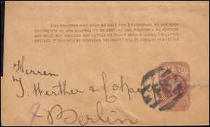 Großbritannien Streifband S 7 Viktoria Balkenstempel FB, um 1890 nach Berlin