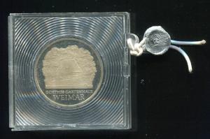 DDR Gedenkmünze Weimar / Goethe, 1982, Spiegelglanz PP in verplombter Kapsel