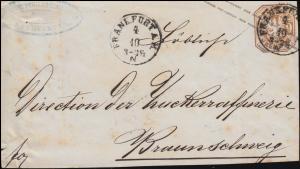 Preußen Umschlag U 38 als Briefvorderseite FRANKFURT/MAIN 4.10. n. Braunschweig