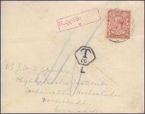Großbritannien König Geoges V. 1 1/2 P. Brief 8.12.33 nach Darmstadt T-Stempel