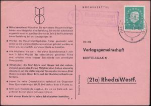 Landpost Rodenhausen über GLADENBACH 15.11.1960 auf Bücherzettel nach Rheda