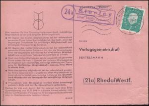 Landpost Sterley über MÖLLN (LAUENBURG) 10.10.1960 auf Bücherzettel nach Rheda