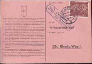 Landpost Germershausen über DUDERSTADT 29.10.1960 auf Bücherzettel nach Rheda