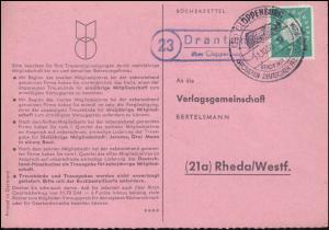 Landpost Drantum über Cloppenburg auf Bücherzettel SSt CLOPPENBURG 31.01.1960