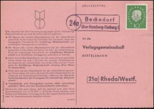 Landpost Beckedorf über Hamburg-Harburg 1 auf Bücherzettel nach Rheda, 28.10.60