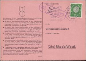 Landpost Gelliehausen über Göttingen 19.10.60 auf Bücherzettel nach Rheda/Westf.