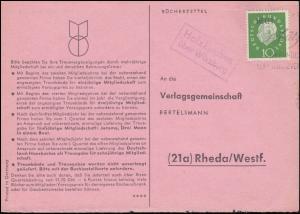 Landpost Holzkirchen über Würzburg auf Bücherzettel nach Rheda/Westf., um 1960