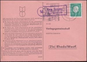 Landpost Klein Gumpen über BENSHEIM 29.19.1960 auf Bücherzettel nach Rheda/Westf