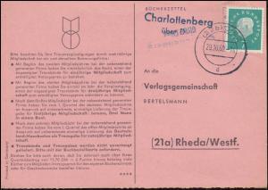 Landpost Charlottenberg über DIEZ 29.10.1960 auf Bücherzettel nach Rheda/Westf.