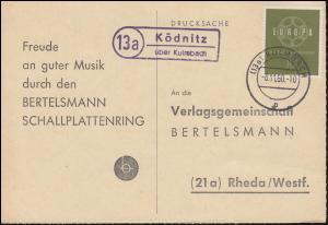 Landpost Ködnitz über KULMBACH 8.11.1960 auf Postkarte nach Rheda/Westf.
