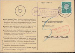 Landpost Sauingen über SALZGITTER-LEBENSTEDT 5.10.1960 auf Postkarte nach Rheda