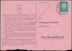 Landpost Einzeiler Kleinhau über DÜREN 1 - 24.10.60 auf Bücherzettel nach Rheda