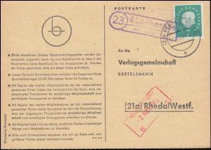 Landpost Ahnebergen über VERDEN 31.10.19.1960 auf Postkarte nach Rheda/Westf.