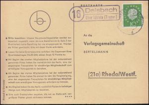 Landpost Daisbach über IDSTEIN (TAUNUS) 11.11.1960 auf Postkarte nach Rheda