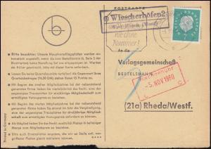 Landpost Wiescherhöfen 2 über HAMM (WESTF) 4.11.1960 auf Postkarte nach Rheda