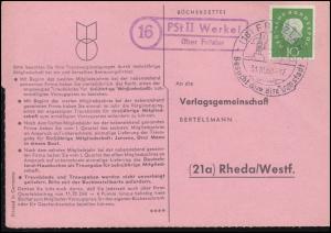 Landpost PSt II Werkel über Fritzlar auf Bücherzettel SSt FRITZLAR 31.10.1960
