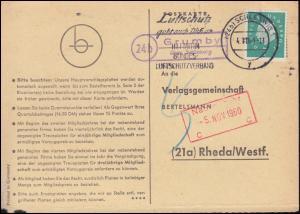 Landpost Grumby über SCHLESWIG 4.11.60 auf Postkarte nach Rheda/Westfalen