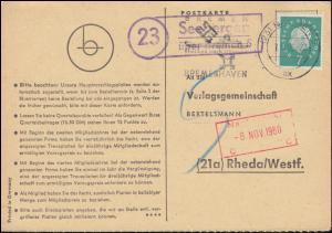 Landpost Seebergen über BREMEN 5 - 7.11.1960 auf Postkarte nach Rheda/Westf.