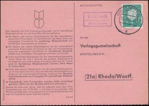 Landpost Kastenstempel Bürbach über SIEGEN 19.10.1960 auf Postkarte nach Rheda